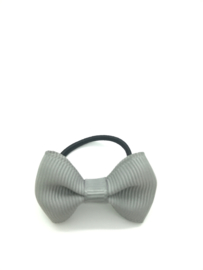 Elastiekje mini met klein strikje grijs