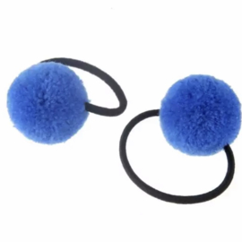 Elastiekje pompon kobalt blauw