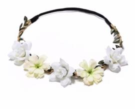 Haarbandje in gevlochten leder met  bloemetjes wit