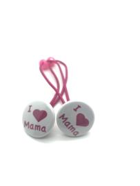Elastiekjes met buttons i love mama