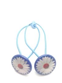 Elastiekjes met buttons madeliefjes blauw