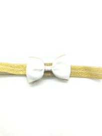 Babyhaarbandje met strikje wit/goud