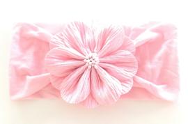 Babyhaarbandje lichtroze met bloem