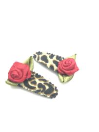 Baby/peuter haarspeldjes leopard met roosjes