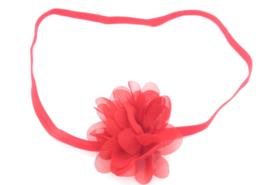 babyhaarbandje chiffonbloem rood