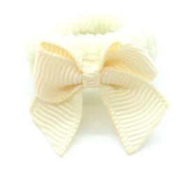 Baby elastiekje ecru met klein strikje