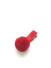 Haarclips met pompon rood