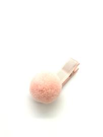 Haarclips met pompon zalmroze