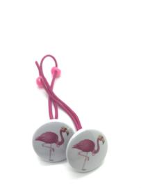 Elastiekjes met buttons flamingo