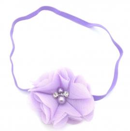 Babyhaarbandje met strass steentje paars