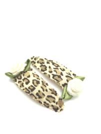 Haarspeldjes leopard met roosjes