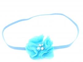 Babyhaarbandje met strass steentjes aqua blauw