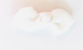 Strikje ribfluweel wit