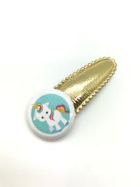 Haarspeldje met button unicorn