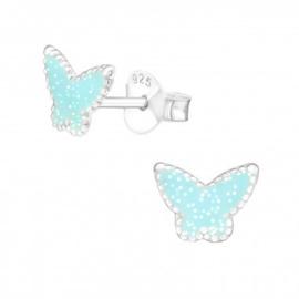 Oorstekertjes vlinder turkoois