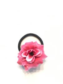 Elastiekje met bloem fuchsia