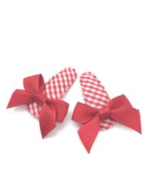 Baby/peuter haarspeldjes rood geruit met rode strikjes
