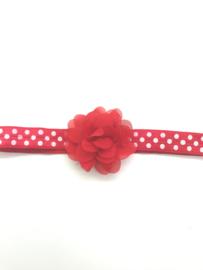 Babyhaarbandje met chiffon bloemetje rood