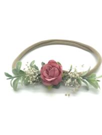Haarbandje met bloemetjes donker roze