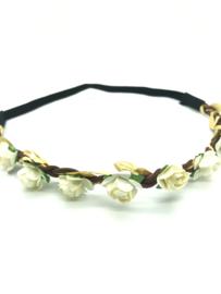 Haarbandje in gevlochten leder met ecru bloemetjes en gouden blaadjes