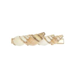 Haarclips schelpjes goud / roze