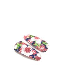 Baby/ peuter haarspeldjes roze met bloemenprintjes