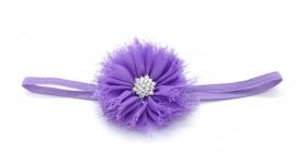 Babyhaarbandje dun met bloem paars
