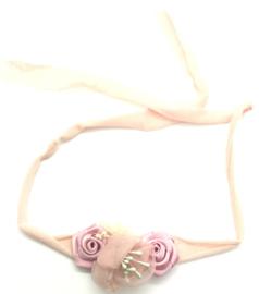 Haarbandje met bloemetjes licht roze