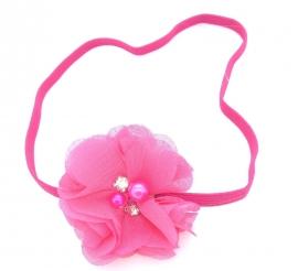 Babyhaarbandje met strass steentje roze