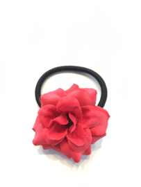 Elastiekje met bloem rood