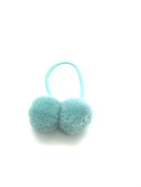Elastiekje met dubbele pompon lichtblauw
