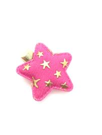 Haarspeldje denim roze met gouden sterretjes