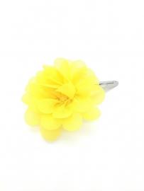 Haarspeldje met chiffonbloem geel