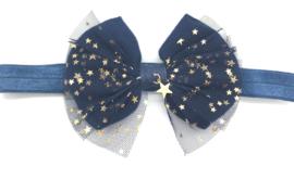 Babyhaarbandje marine blauw met gouden sterretjes