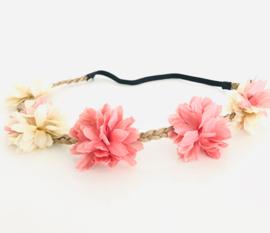 Zomers bloemenbandje oud roze ecru