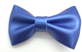 Strikje leder middelgroot kobalt blauw