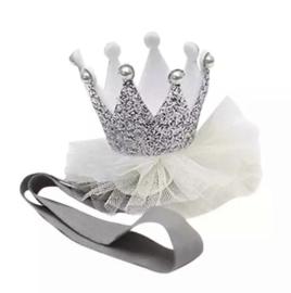 Haarbandje kroontje zilver