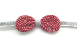 Babyhaarbandje met rood strikje op zilver bandje