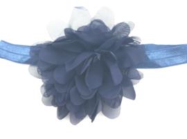 Babyhaarbandje marine blauw met chiffon bloem