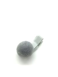 Haarclips met pompon grijs