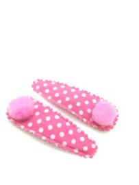 Haarspeldjes roze met pomponnetjes