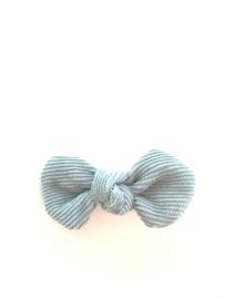 Strikje ribfluweel blauw/grijs