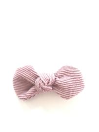 Strikje ribfluweel oud roze