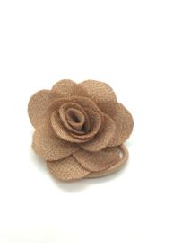Elastiekje met klein roosje taupe