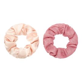 Scrunchies setje oud roze/ glitter