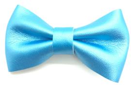 Strikje leder middelgroot aqua blauw