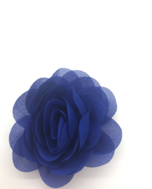 Haarspeldje met chiffon roosje koraal blauw