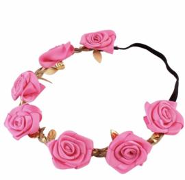 Bloemen elastiekje/ haarband fushia