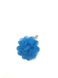 Haarspeldje met chiffonbloem  royaal blauw