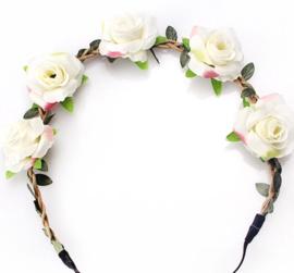 Zomers bloemenbandje wit
